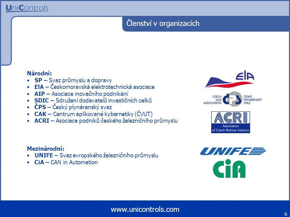 Ocenění Inovace roku 96 (AIP ČR) – řídicí systém pro drážní vozidla Inovace roku 97 (AIP ČR) – UniCan-řady O Inovace roku 99 (AIP ČR) – systémová řídicí jednotka Zlatá medaile 2000 (MSV) – systémová řídicí jednotka SCU-01 pro Ae 270 Ocenění ELA 2000 – systémová řídicí jednotka SCU-01 pro Ae 270 Zlatá medaile 2003 (MSV) – komunikační uzel TCN-Gateway Inovace roku 2005 (AIP ČR) – kompaktní řídicí jednotka UniNOD Zlatá medaile 2006 (MSV) – univerzální vozový počítač 7 www.unicontrols.com