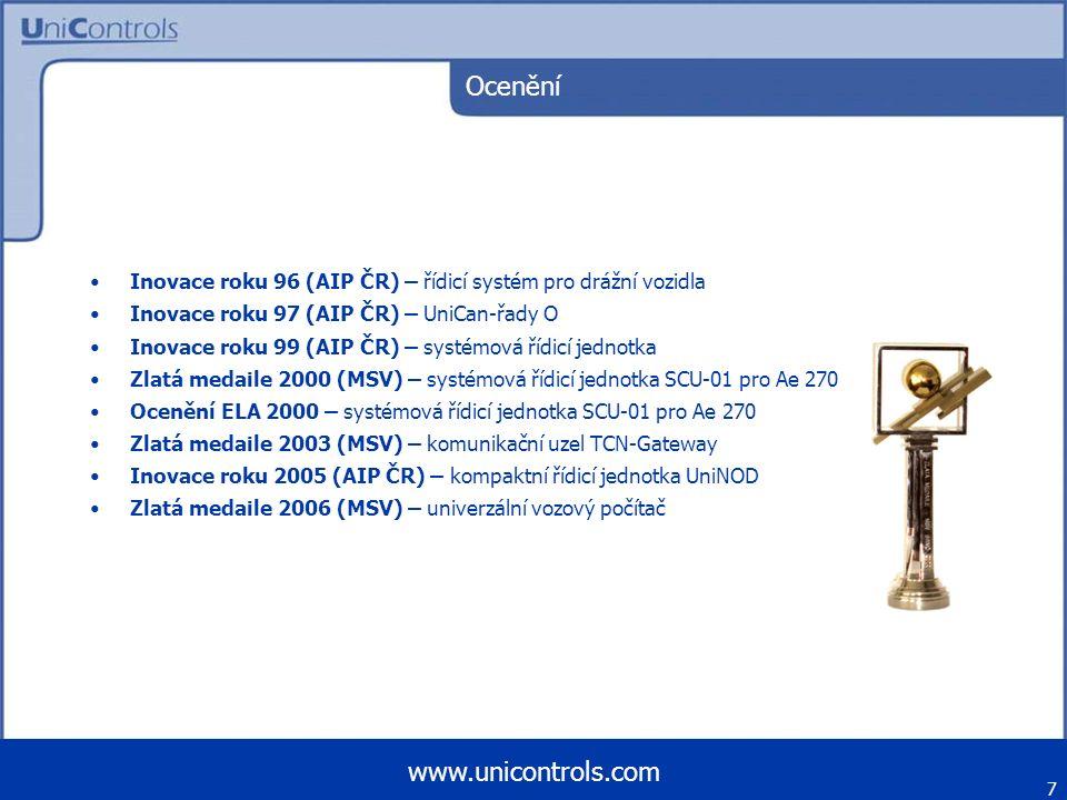 Ocenění Inovace roku 96 (AIP ČR) – řídicí systém pro drážní vozidla Inovace roku 97 (AIP ČR) – UniCan-řady O Inovace roku 99 (AIP ČR) – systémová řídi