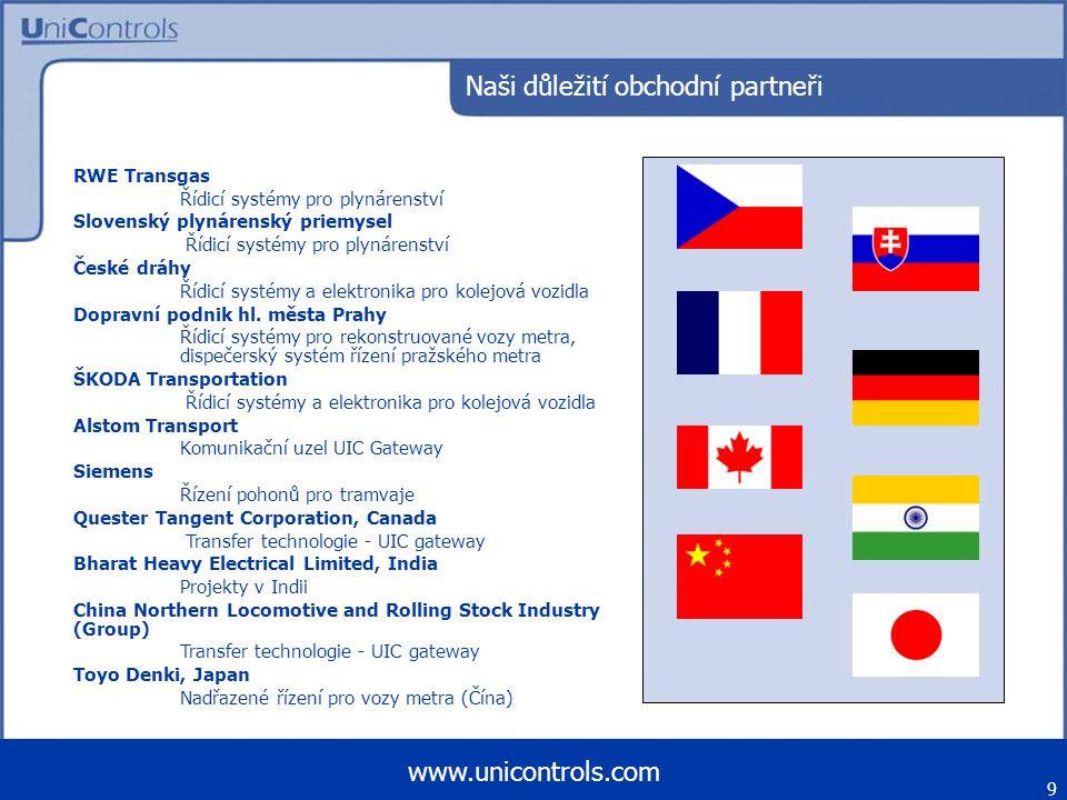 10 www.unicontrols.com Export Itálie, Španělsko, Německo, Švýcarsko, Francie, Slovensko, Polsko, Rakousko, Rusko, Ukrajina, Kanada, Čína, Indie, Japonsko,