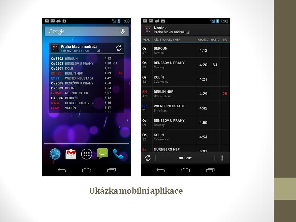 Ukázka mobilní aplikace