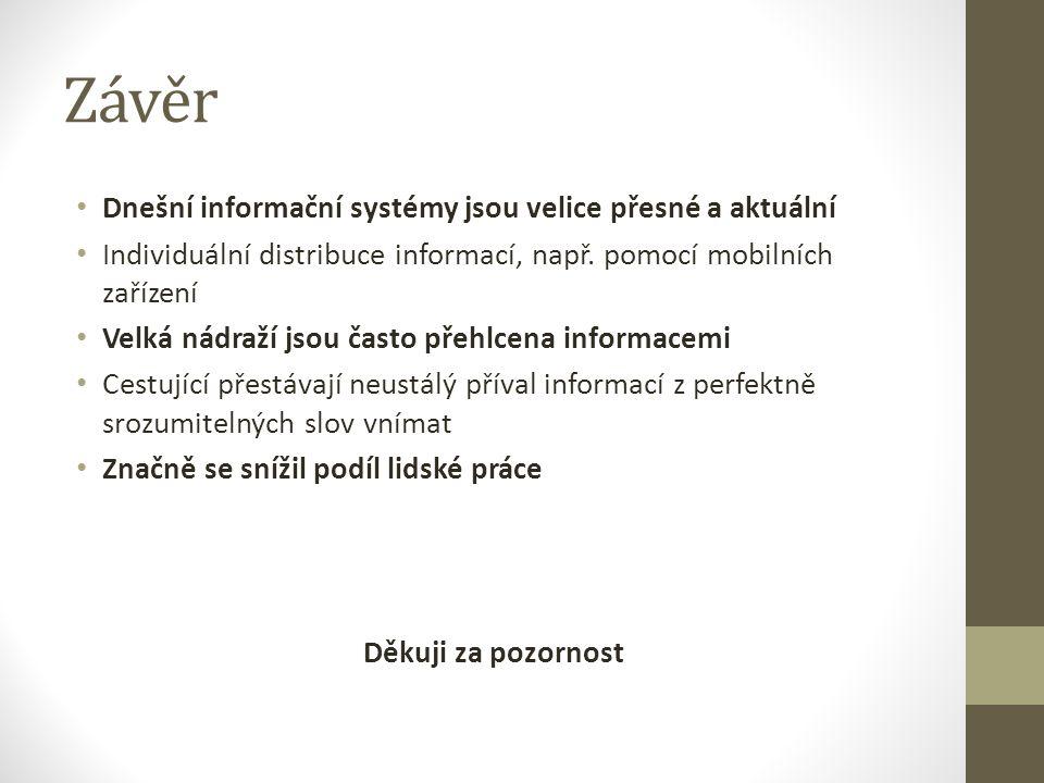 Závěr Dnešní informační systémy jsou velice přesné a aktuální Individuální distribuce informací, např.