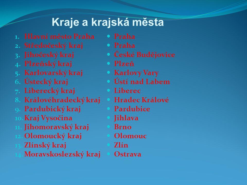 Kraje a krajská města 1.Hlavní město Praha 2. Středočeský kraj 3.