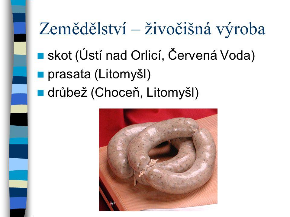 Zemědělství – živočišná výroba skot (Ústí nad Orlicí, Červená Voda) prasata (Litomyšl) drůbež (Choceň, Litomyšl)