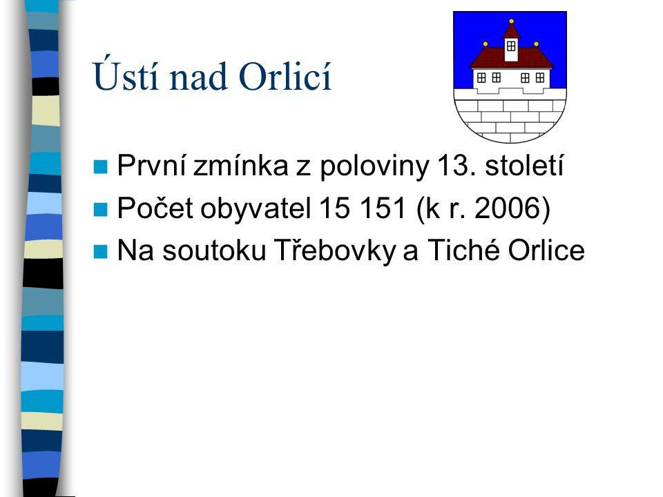 Ústí nad Orlicí První zmínka z poloviny 13.století Počet obyvatel 15 151 (k r.