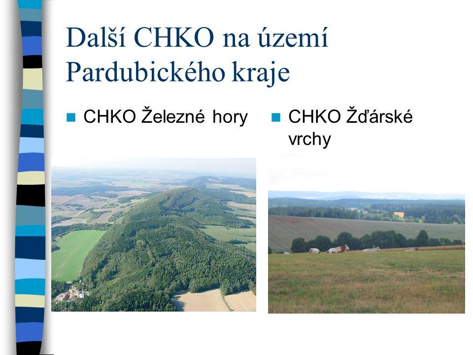 Další CHKO na území Pardubického kraje CHKO Železné hory CHKO Žďárské vrchy