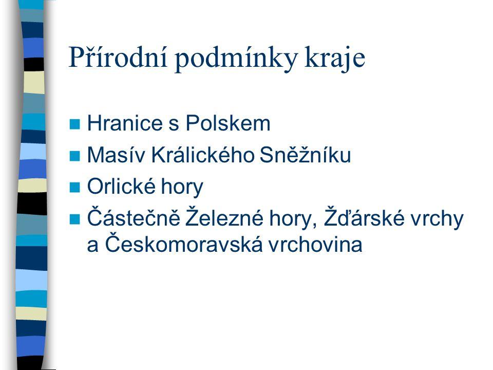Přírodní podmínky kraje Hranice s Polskem Masív Králického Sněžníku Orlické hory Částečně Železné hory, Žďárské vrchy a Českomoravská vrchovina