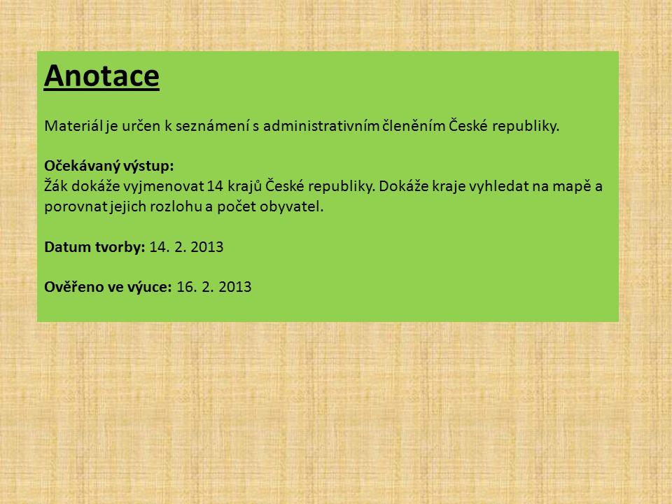 Anotace Materiál je určen k seznámení s administrativním členěním České republiky.