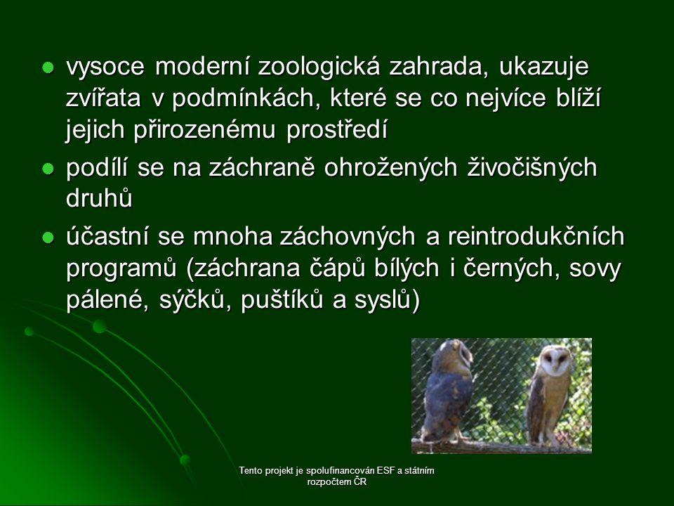 vysoce moderní zoologická zahrada, ukazuje zvířata v podmínkách, které se co nejvíce blíží jejich přirozenému prostředí vysoce moderní zoologická zahrada, ukazuje zvířata v podmínkách, které se co nejvíce blíží jejich přirozenému prostředí podílí se na záchraně ohrožených živočišných druhů podílí se na záchraně ohrožených živočišných druhů účastní se mnoha záchovných a reintrodukčních programů (záchrana čápů bílých i černých, sovy pálené, sýčků, puštíků a syslů) účastní se mnoha záchovných a reintrodukčních programů (záchrana čápů bílých i černých, sovy pálené, sýčků, puštíků a syslů) Tento projekt je spolufinancován ESF a státním rozpočtem ČR