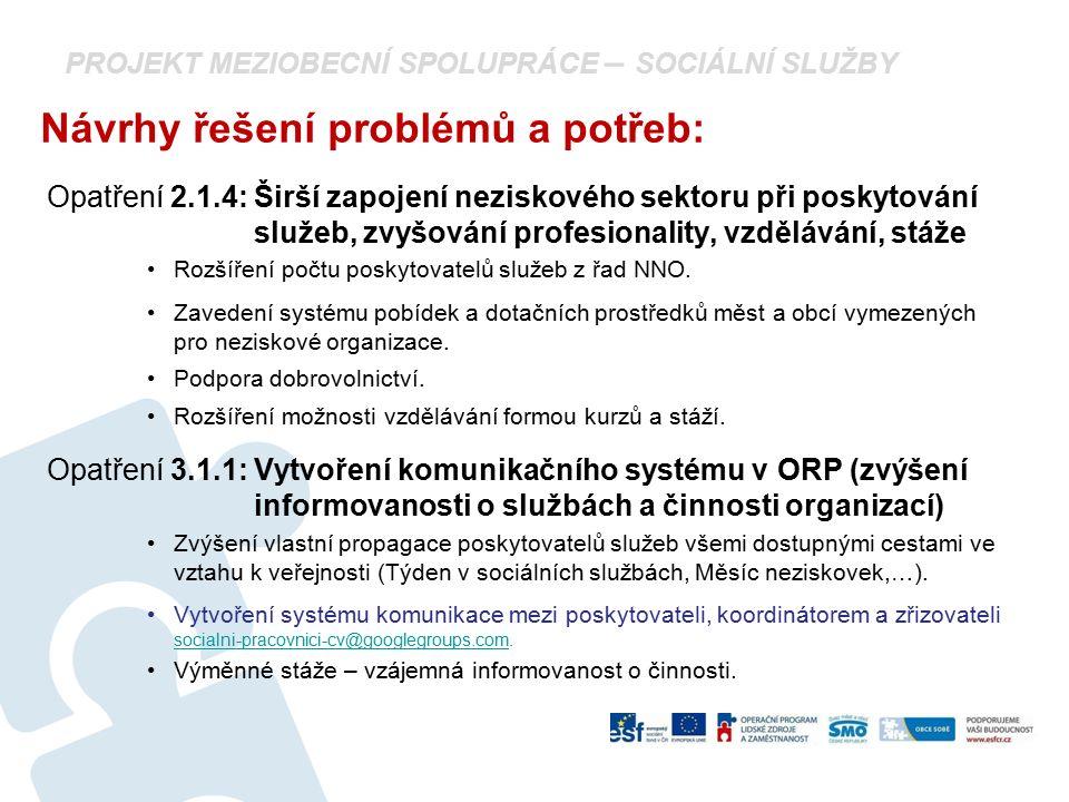 PROJEKT MEZIOBECNÍ SPOLUPRÁCE – SOCIÁLNÍ SLUŽBY Návrhy řešení problémů a potřeb: Opatření 2.1.4: Širší zapojení neziskového sektoru při poskytování sl