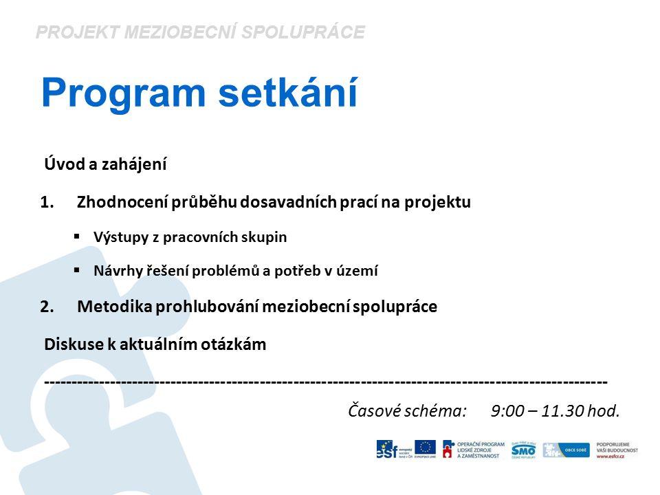 Program setkání Úvod a zahájení 1. Zhodnocení průběhu dosavadních prací na projektu  Výstupy z pracovních skupin  Návrhy řešení problémů a potřeb v