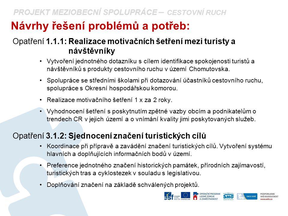 PROJEKT MEZIOBECNÍ SPOLUPRÁCE – CESTOVNÍ RUCH Návrhy řešení problémů a potřeb: Opatření 1.1.1: Realizace motivačních šetření mezi turisty a návštěvník