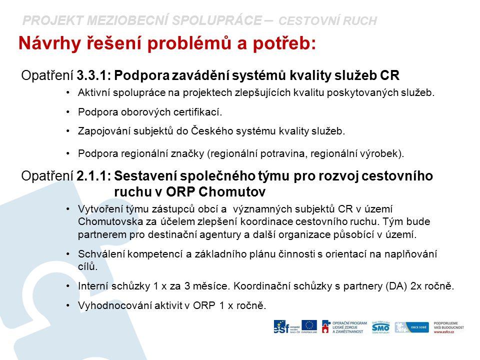 PROJEKT MEZIOBECNÍ SPOLUPRÁCE – CESTOVNÍ RUCH Návrhy řešení problémů a potřeb: Opatření 3.3.1: Podpora zavádění systémů kvality služeb CR Aktivní spol
