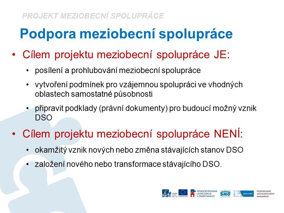 Podpora meziobecní spolupráce Cílem projektu meziobecní spolupráce JE: posílení a prohlubování meziobecní spolupráce vytvoření podmínek pro vzájemnou