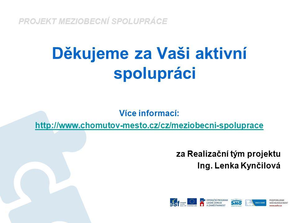 Děkujeme za Vaši aktivní spolupráci Více informací: http://www.chomutov-mesto.cz/cz/meziobecni-spoluprace za Realizační tým projektu Ing. Lenka Kynčil