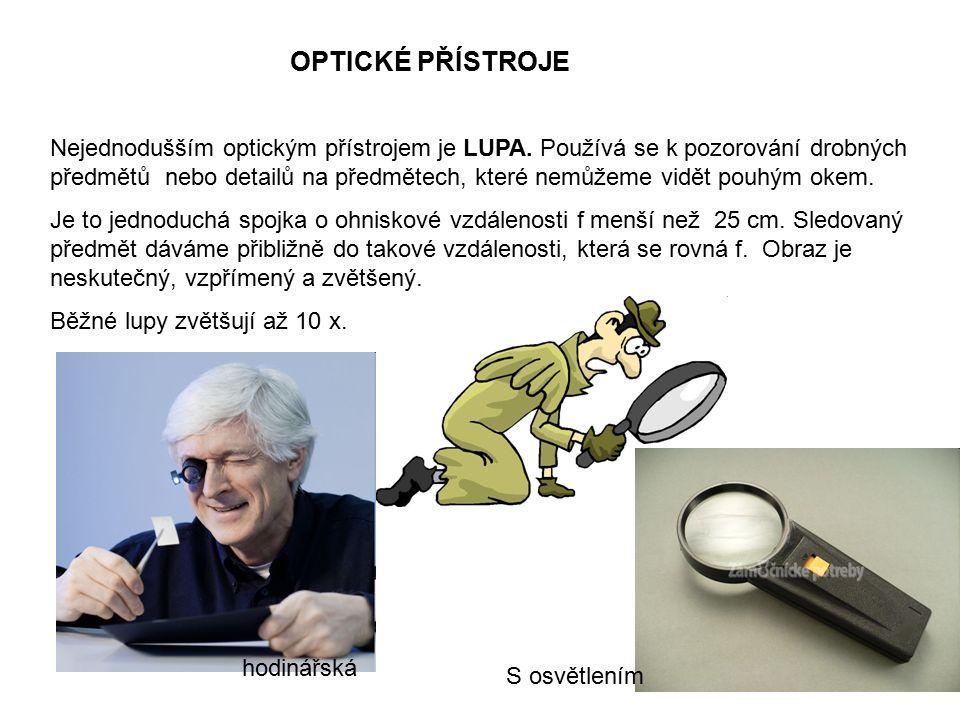 OPTICKÉ PŘÍSTROJE Nejednodušším optickým přístrojem je LUPA. Používá se k pozorování drobných předmětů nebo detailů na předmětech, které nemůžeme vidě