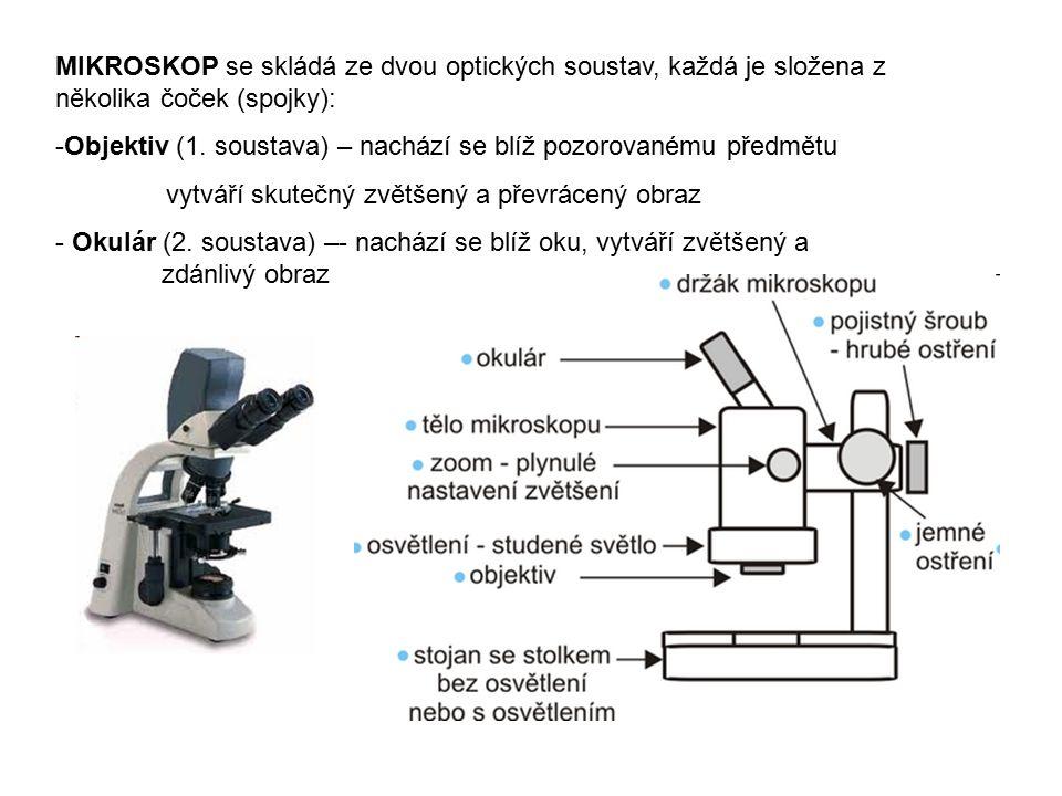 MIKROSKOP se skládá ze dvou optických soustav, každá je složena z několika čoček (spojky): -Objektiv (1. soustava) – nachází se blíž pozorovanému před