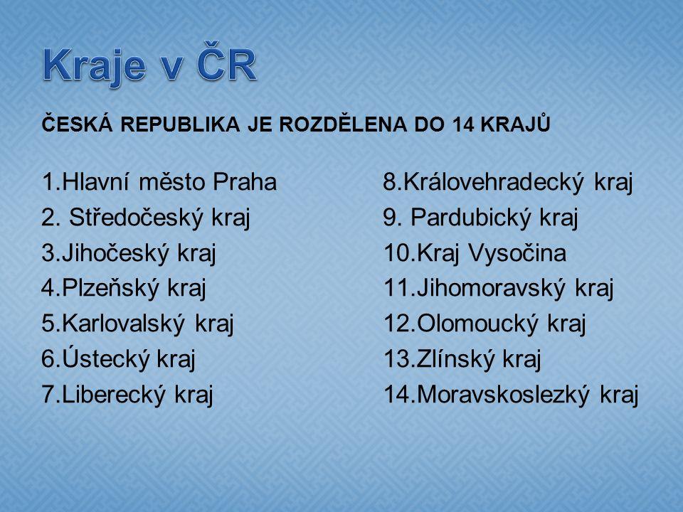 ČESKÁ REPUBLIKA JE ROZDĚLENA DO 14 KRAJŮ 1.Hlavní město Praha8.Královehradecký kraj 2.