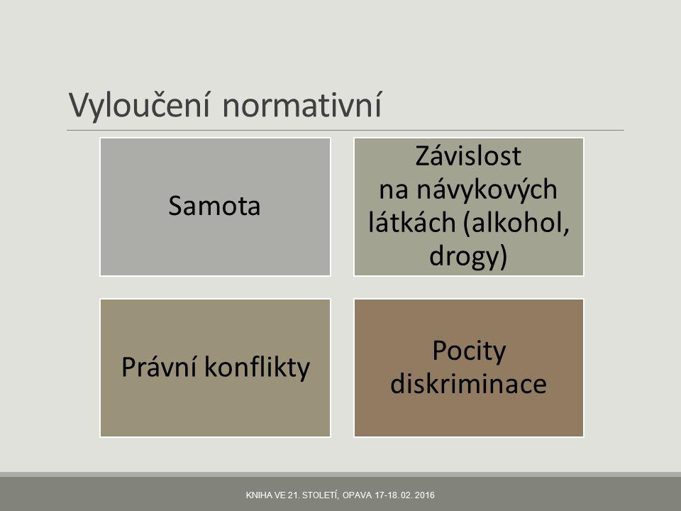 Vyloučení normativní Samota Závislost na návykových látkách (alkohol, drogy) Právní konflikty Pocity diskriminace KNIHA VE 21.