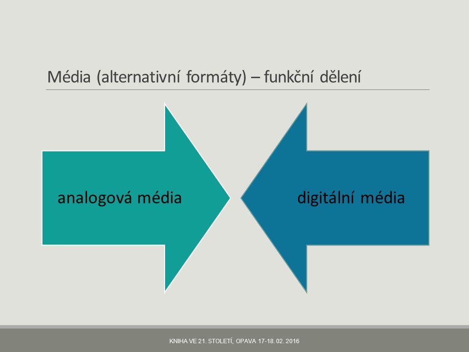Média (alternativní formáty) – funkční dělení analogová médiadigitální média KNIHA VE 21.