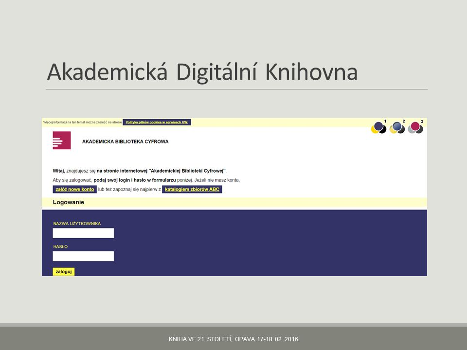 Akademická Digitální Knihovna KNIHA VE 21. STOLETÍ, OPAVA 17-18. 02. 2016