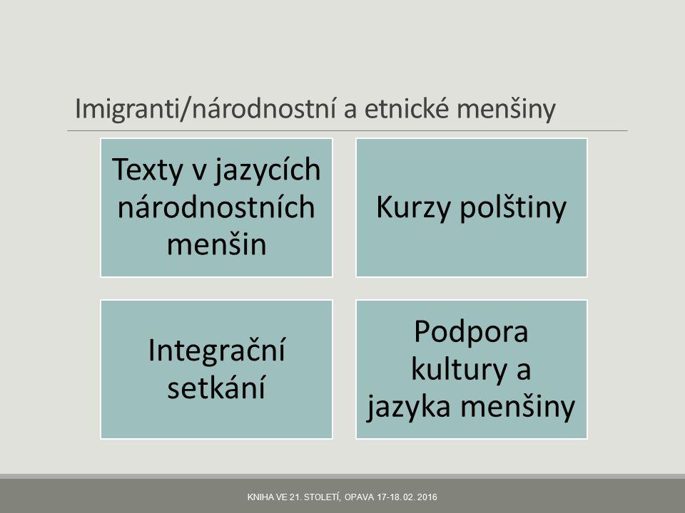 Imigranti/národnostní a etnické menšiny Texty v jazycích národnostních menšin Kurzy polštiny Integrační setkání Podpora kultury a jazyka menšiny KNIHA VE 21.