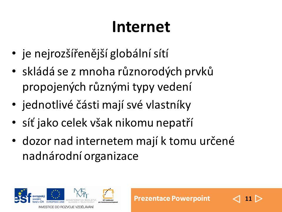 Prezentace Powerpoint 11 Internet je nejrozšířenější globální sítí skládá se z mnoha různorodých prvků propojených různými typy vedení jednotlivé části mají své vlastníky síť jako celek však nikomu nepatří dozor nad internetem mají k tomu určené nadnárodní organizace