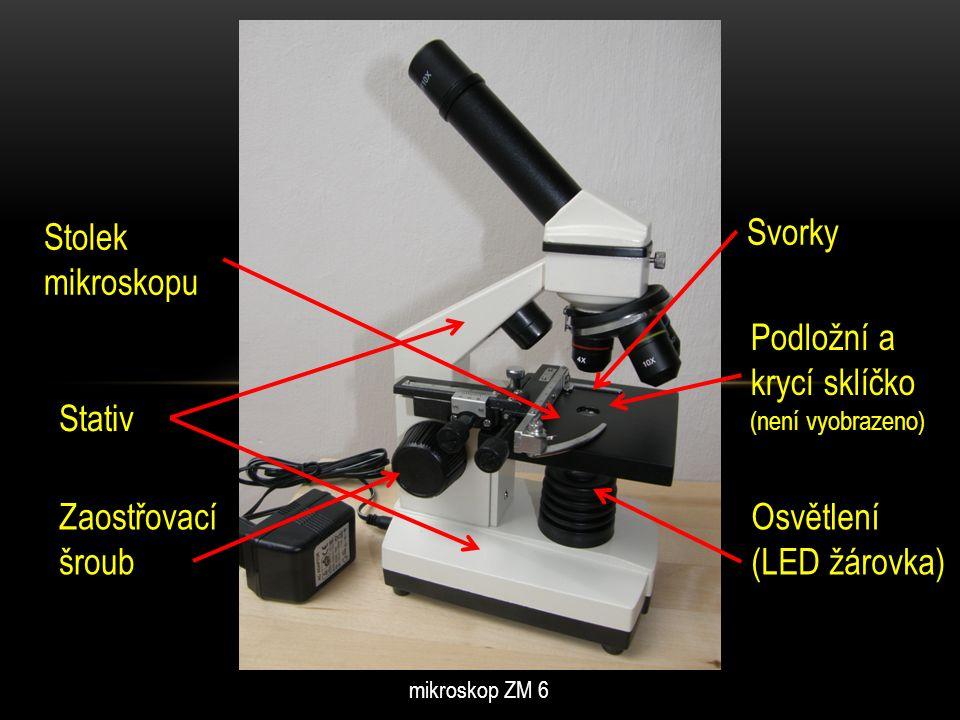 DALŠÍ ČÁSTI MIKROSKOPU … Preparát, vložený mezi podložní a krycí sklíčko, se upíná pomocí svorek na stolek mikroskopu.