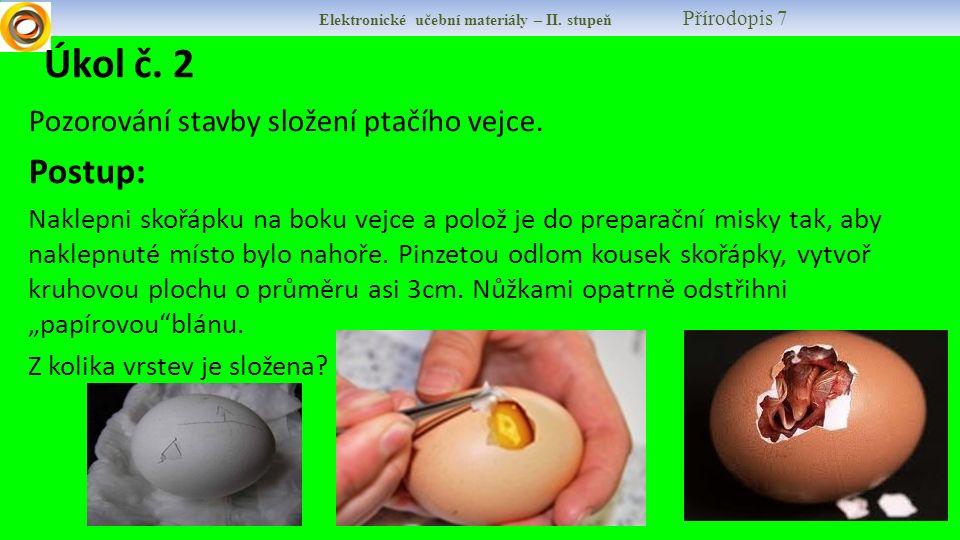 Elektronické učební materiály – II. stupeň Přírodopis 7 Úkol č. 2 Pozorování stavby složení ptačího vejce. Postup: Naklepni skořápku na boku vejce a p