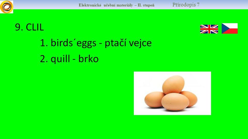 9. CLIL 1. birds´eggs - ptačí vejce 2. quill - brko Elektronické učební materiály – II. stupeň Přírodopis 7