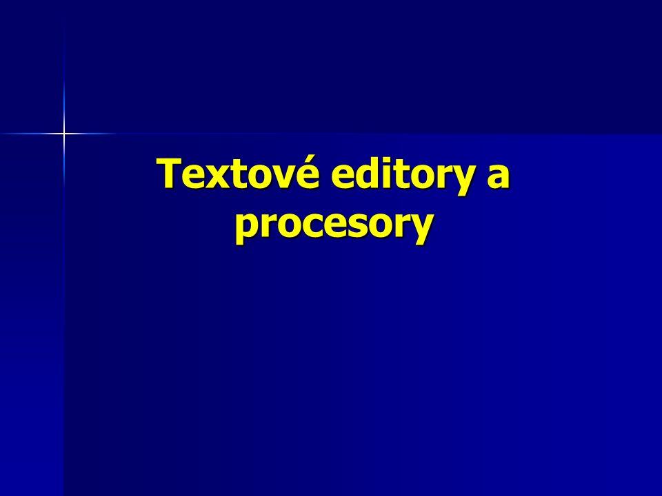 Textové procesory Textový procesor je v program, který slouží k vytváření formátovaného textu.