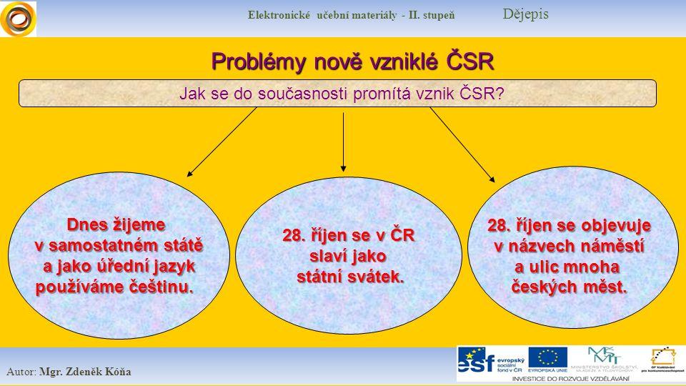 Elektronické učební materiály - II. stupeň Dějepis Autor: Mgr. Zdeněk Kóňa Dnes žijeme v samostatném státě a jako úřední jazyk používáme češtinu. Prob