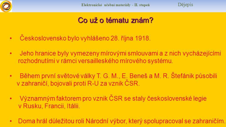 Elektronické učební materiály - II. stupeň Dějepis Co už o tématu znám? Československo bylo vyhlášeno 28. října 1918. Jeho hranice byly vymezeny mírov