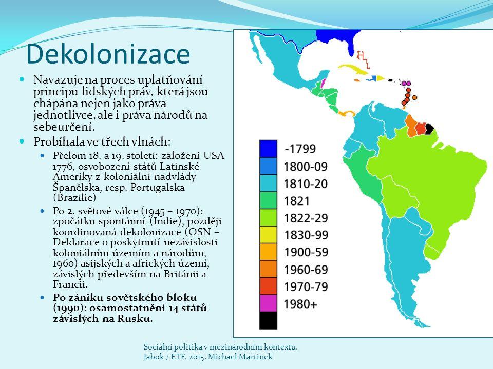 Globální politická situace Po roce 1945 vzniklo 125 nových států, zejména zánikem koloniálních říší.