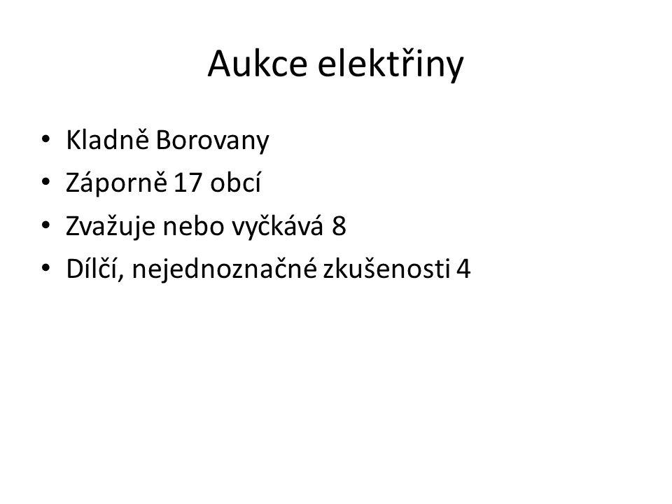 Aukce elektřiny Kladně Borovany Záporně 17 obcí Zvažuje nebo vyčkává 8 Dílčí, nejednoznačné zkušenosti 4