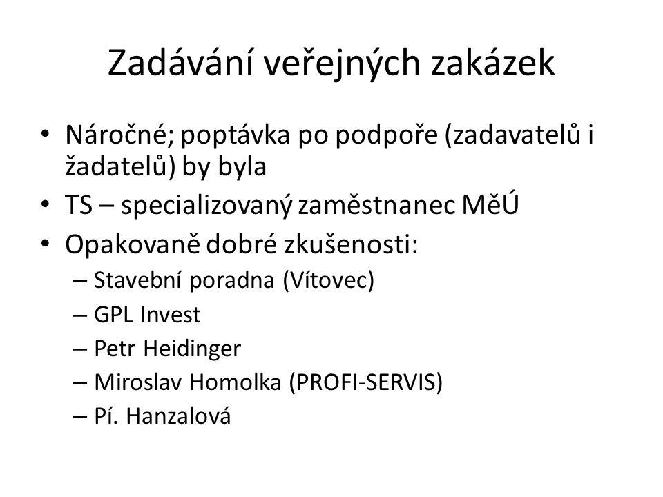 Zadávání veřejných zakázek Náročné; poptávka po podpoře (zadavatelů i žadatelů) by byla TS – specializovaný zaměstnanec MěÚ Opakovaně dobré zkušenosti: – Stavební poradna (Vítovec) – GPL Invest – Petr Heidinger – Miroslav Homolka (PROFI-SERVIS) – Pí.