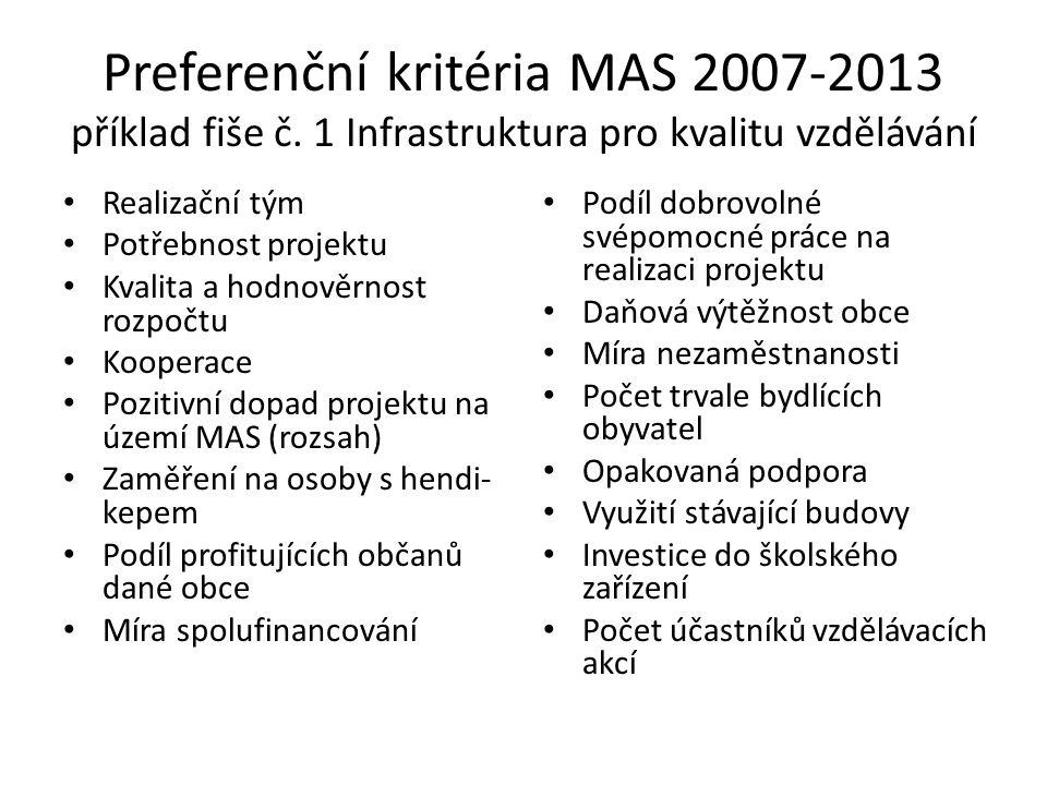 Preferenční kritéria MAS 2007-2013 příklad fiše č.
