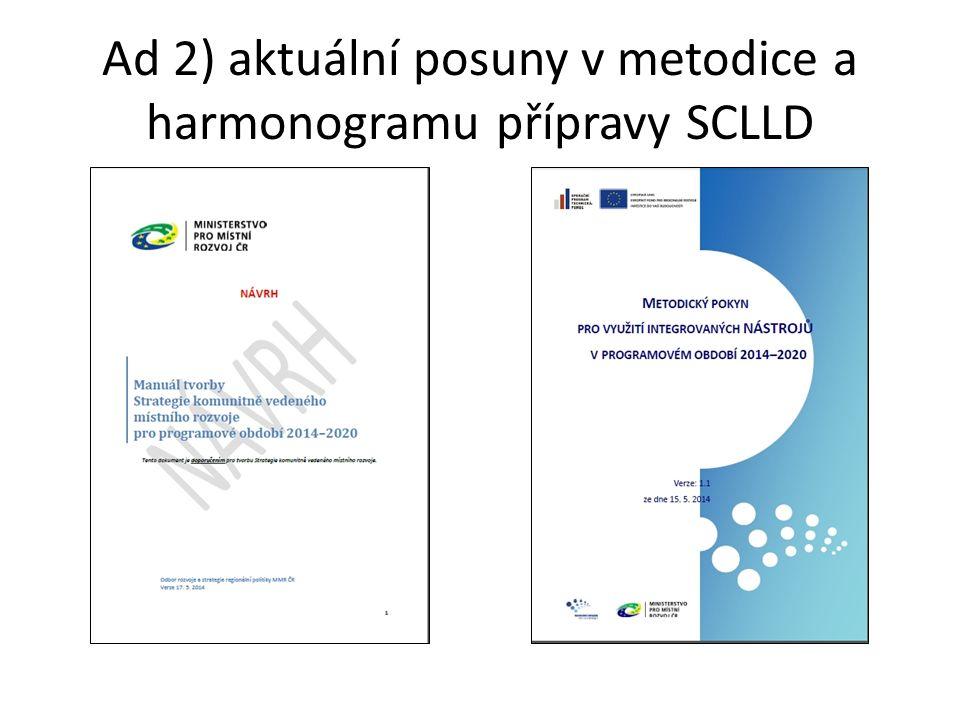 Ad 2) aktuální posuny v metodice a harmonogramu přípravy SCLLD