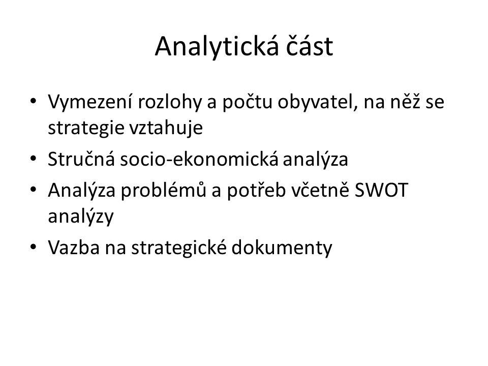 Analytická část Vymezení rozlohy a počtu obyvatel, na něž se strategie vztahuje Stručná socio-ekonomická analýza Analýza problémů a potřeb včetně SWOT analýzy Vazba na strategické dokumenty