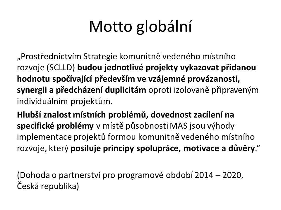 """Motto globální """"Prostřednictvím Strategie komunitně vedeného místního rozvoje (SCLLD) budou jednotlivé projekty vykazovat přidanou hodnotu spočívající především ve vzájemné provázanosti, synergii a předcházení duplicitám oproti izolovaně připraveným individuálním projektům."""