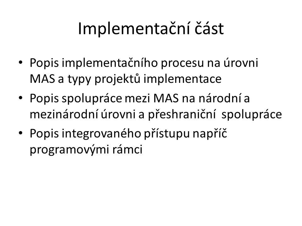 Implementační část Popis implementačního procesu na úrovni MAS a typy projektů implementace Popis spolupráce mezi MAS na národní a mezinárodní úrovni a přeshraniční spolupráce Popis integrovaného přístupu napříč programovými rámci