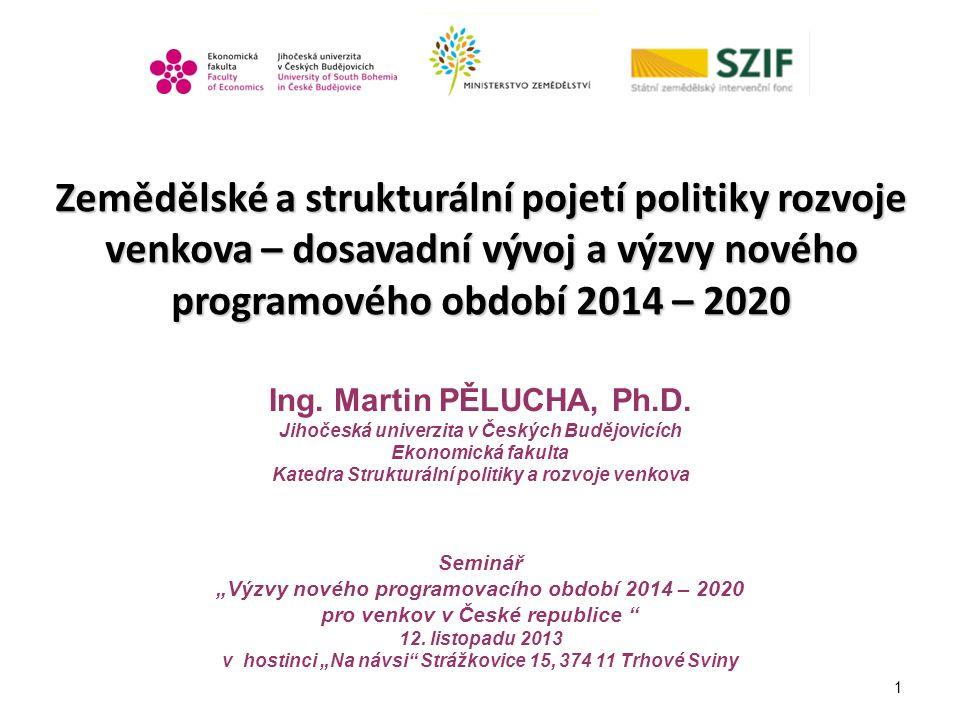 1 Zemědělské a strukturální pojetí politiky rozvoje venkova – dosavadní vývoj a výzvy nového programového období 2014 – 2020 Ing. Martin PĚLUCHA, Ph.D
