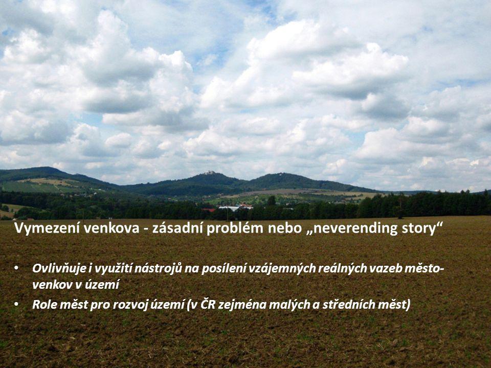 """14 Vymezení venkova - zásadní problém nebo """"neverending story"""" Ovlivňuje i využití nástrojů na posílení vzájemných reálných vazeb město- venkov v územ"""