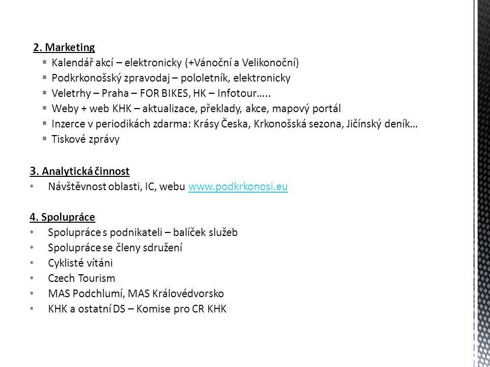 2. Marketing  Kalendář akcí – elektronicky (+Vánoční a Velikonoční)  Podkrkonošský zpravodaj – pololetník, elektronicky  Veletrhy – Praha – FOR BIK