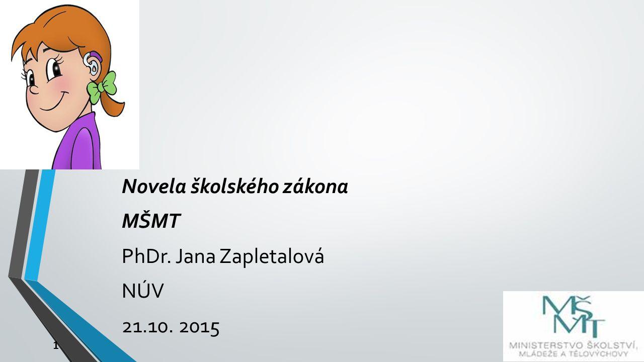 1 Novela školského zákona MŠMT PhDr. Jana Zapletalová NÚV 21.10. 2015
