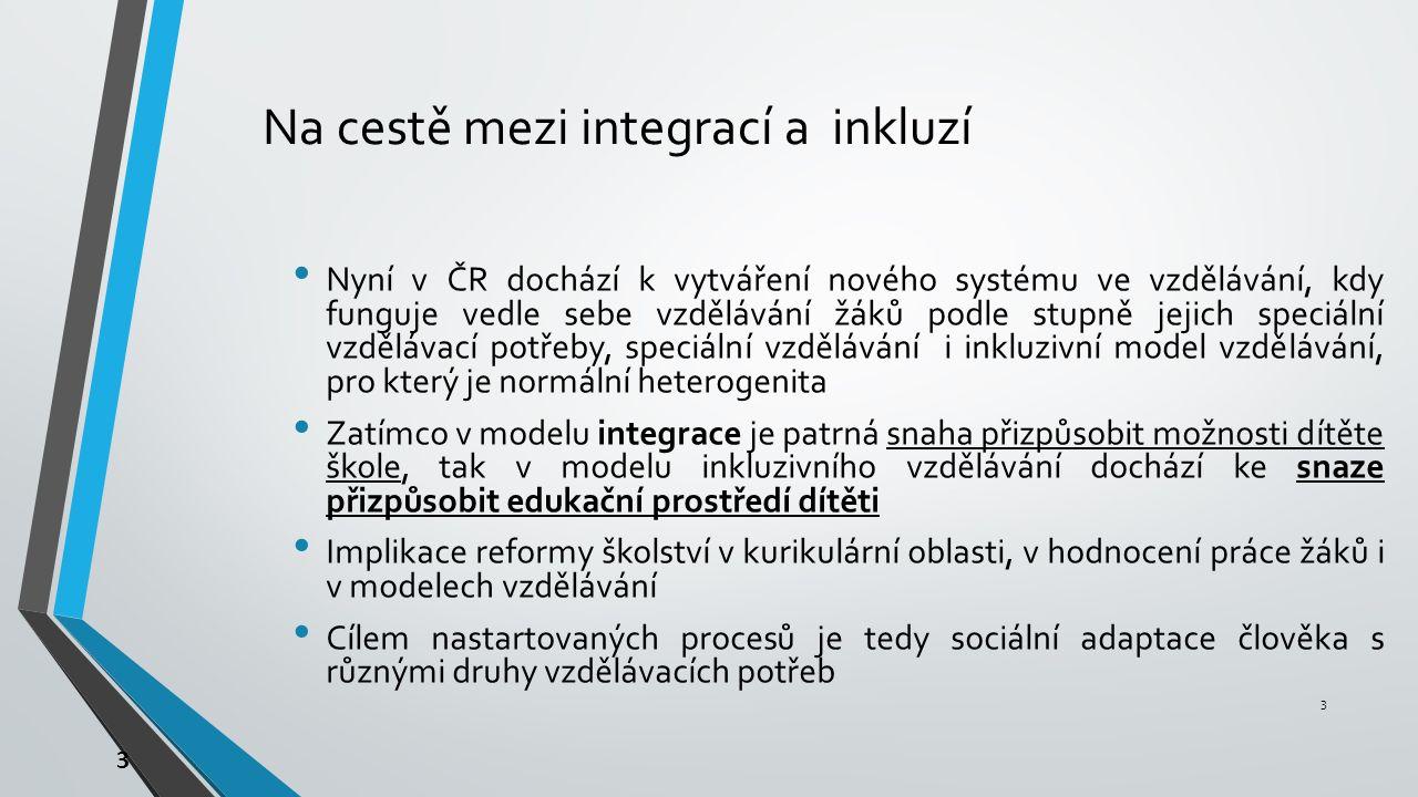 3 Na cestě mezi integrací a inkluzí Nyní v ČR dochází k vytváření nového systému ve vzdělávání, kdy funguje vedle sebe vzdělávání žáků podle stupně jejich speciální vzdělávací potřeby, speciální vzdělávání i inkluzivní model vzdělávání, pro který je normální heterogenita Zatímco v modelu integrace je patrná snaha přizpůsobit možnosti dítěte škole, tak v modelu inkluzivního vzdělávání dochází ke snaze přizpůsobit edukační prostředí dítěti Implikace reformy školství v kurikulární oblasti, v hodnocení práce žáků i v modelech vzdělávání Cílem nastartovaných procesů je tedy sociální adaptace člověka s různými druhy vzdělávacích potřeb 3