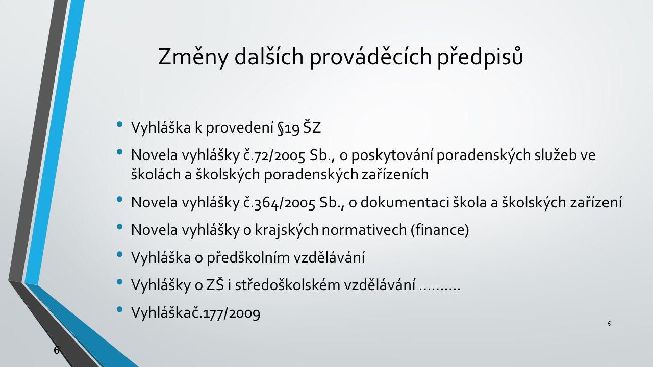 6 Změny dalších prováděcích předpisů Vyhláška k provedení §19 ŠZ Novela vyhlášky č.72/2005 Sb., o poskytování poradenských služeb ve školách a školských poradenských zařízeních Novela vyhlášky č.364/2005 Sb., o dokumentaci škola a školských zařízení Novela vyhlášky o krajských normativech (finance) Vyhláška o předškolním vzdělávání Vyhlášky o ZŠ i středoškolském vzdělávání ……….