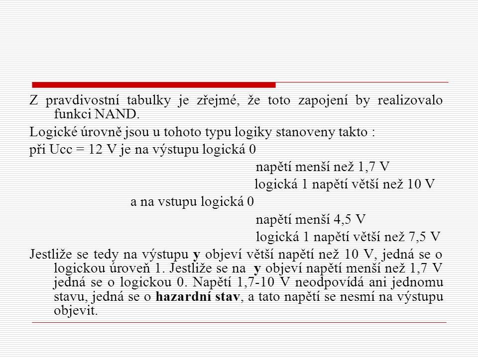 Z pravdivostní tabulky je zřejmé, že toto zapojení by realizovalo funkci NAND.