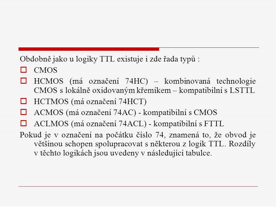 Obdobně jako u logiky TTL existuje i zde řada typů :  CMOS  HCMOS (má označení 74HC) – kombinovaná technologie CMOS s lokálně oxidovaným křemíkem – kompatibilní s LSTTL  HCTMOS (má označení 74HCT)  ACMOS (má označení 74AC) - kompatibilní s CMOS  ACLMOS (má označení 74ACL) - kompatibilní s FTTL Pokud je v označení na počátku číslo 74, znamená to, že obvod je většinou schopen spolupracovat s některou z logik TTL.