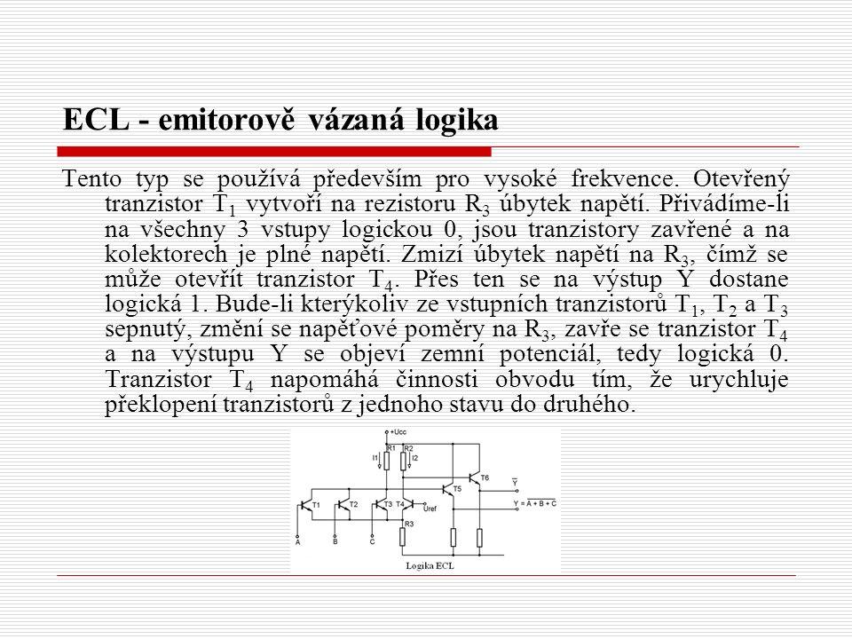 ECL - emitorově vázaná logika Tento typ se používá především pro vysoké frekvence.