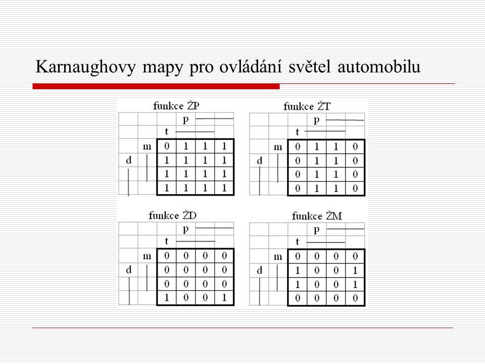 Karnaughovy mapy pro ovládání světel automobilu